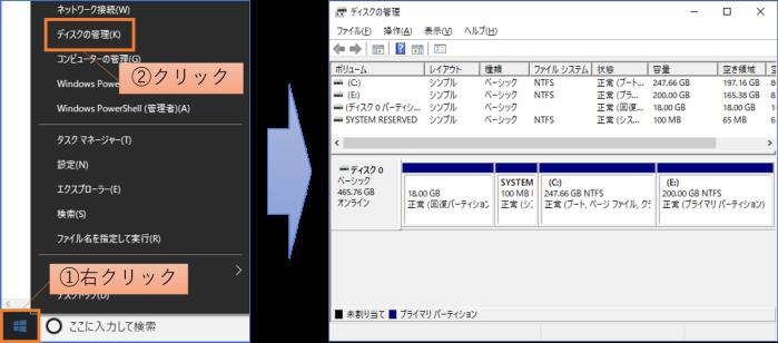 コンテキスト>ディスクの管理